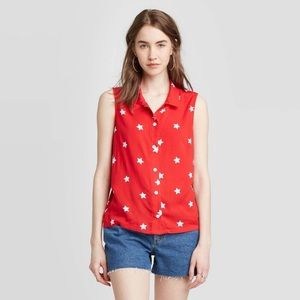 Fifth Sun Red White Star Sleeveless Buttoned Top